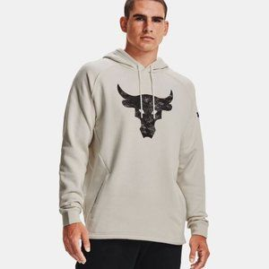 Under Armour Project Rock Beige Cotton Hoodie NWT